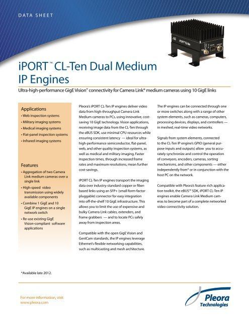 iPORT™ CL-Ten Dual Medium Data Sheet - Pleora Technologies