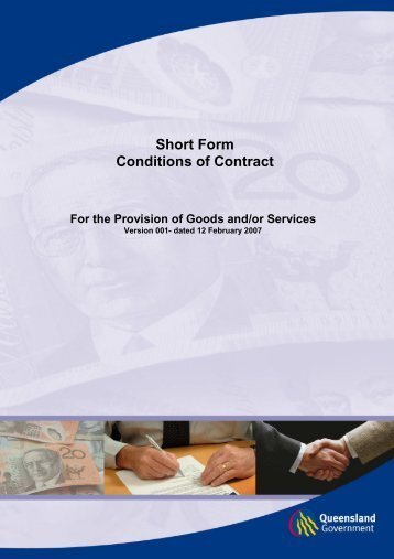 short form - conditions of contract - Department of Housing and ...