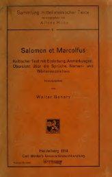 Salomon et Marcolfus. Kritischer Text mit Einleitung, Anmerkungen ...