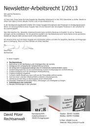 Newsletter-Arbeitsrecht I/2013 - David Pitzer Rechtsanwalt