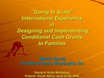 International Experience in Designing and Implementing Conditional