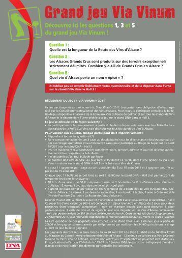 Règlement du jeu Via Vinum - Le Blog très officiel des Vins d'Alsace