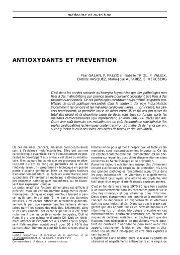 Antioxydants et prévention