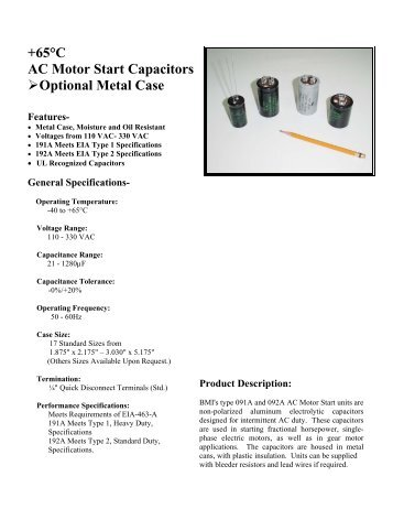 +65°C AC Motor Start Capacitors Optional Metal Case