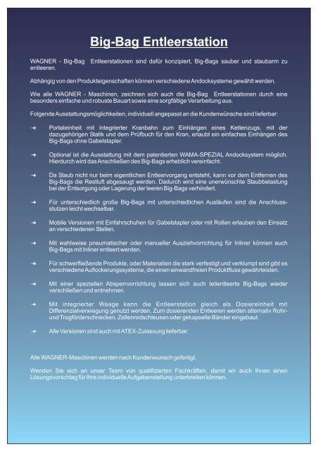 WAGNER - Big-Bag Entleerstation - WAGNER Maschinen GmbH
