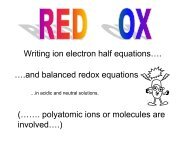 Writing ion electron half equations…. ….and balanced redox ...