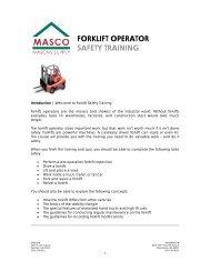 FORKLIFT OPERATOR SAFETY TRAINING - masco.net