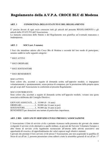 Regolamento della A.V.P.A. CROCE BLU di Modena - ANPAS ...