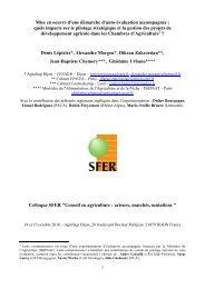 Communication au colloque SFER Ã'Â« Conseil en agriculture - Inra