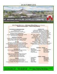 24 OCTOBER 2010 - St. Maximilian Kolbe Catholic Community
