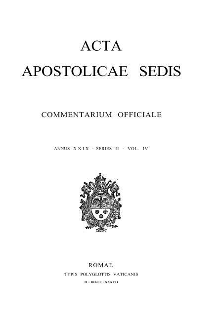ACTA APOSTOLICAE SEDIS - Libr@rsi