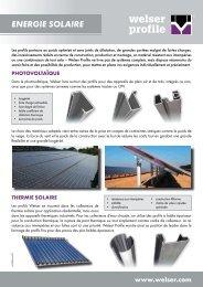 Dépliant branche Energie solairePDF, 377,74 kB - Welser Profile AG