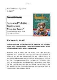 Lernen und Verhalten - Bausteine zum Wesen des Hundes