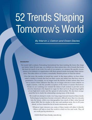 52 Trends Shaping Tomorrow's World - World Future Society