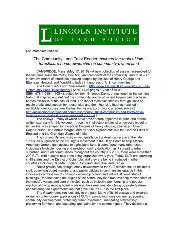 Press Release - National Community Land Trust Network