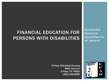 Financial education for persons with disabilities - National Disability ...