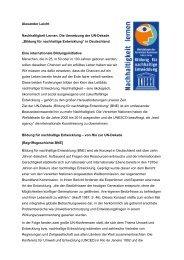 Nachhaltigkeit Lernen - unesco-projekt-schulen Deutschland