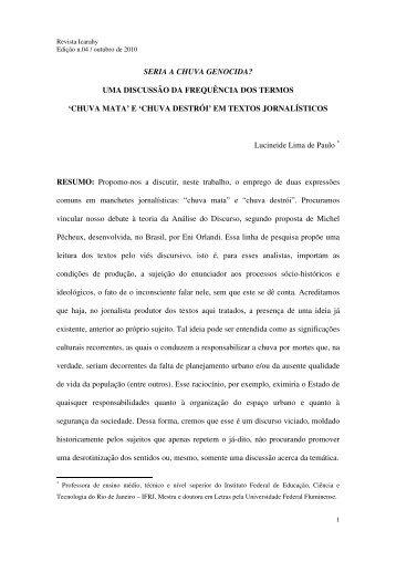 SERIA A CHUVA GENOCIDA? UMA DISCUSSÃO ... - revista Icarahy