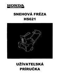 SNEHOVÁ FRÉZA HS621 UŽÍVATEĽSKÁ PRÍRUČKA - HONDA