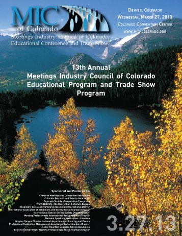 13th Annual Meetings Industry Council of Colorado Educational ...