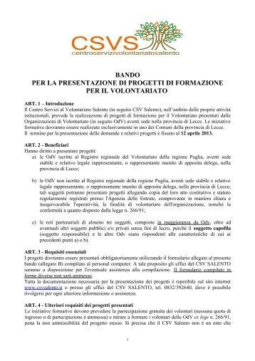 Bando Formazione 2013 - Centro Servizi Volontariato Salento