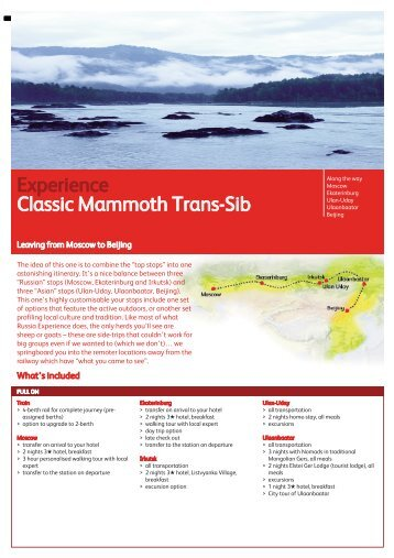 Classic Mammoth Moscow to Beijing - Russia Experience