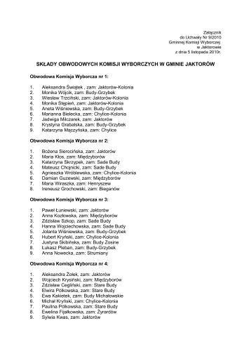 Składy Obwodowych Komisji Wyborczych w Gminie ... - bip.jaktorow.pl