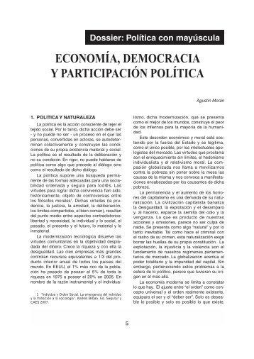 ECONOMÍA, DEMOCRACIA Y PARTICIPACIÓN POLÍTICA