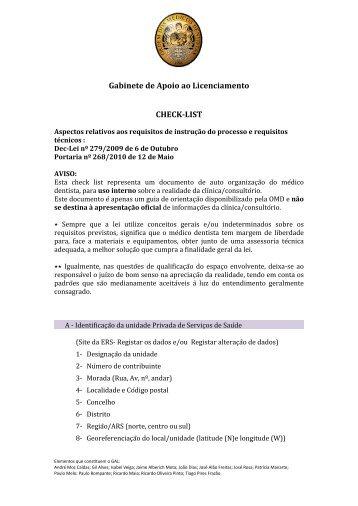 Gabinete de Apoio ao Licenciamento CHECK-‐LIST
