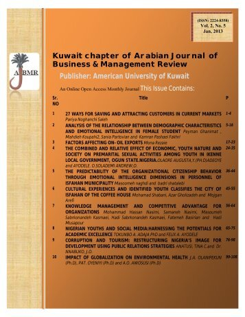 Title Page - Arabian Journal of Business & Management Review