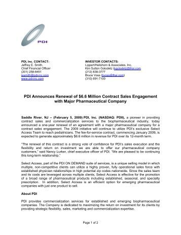 Pdi, Inc. Announces $48 Million In Renewal Sales Contracts