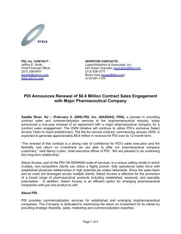 Pdi, Inc. Announces $48 Million In Renewal Sales Contracts