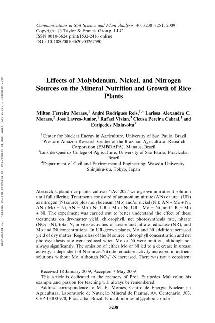 Effects Of Molybdenum Nickel And Nitrogen Sources On The Mineral