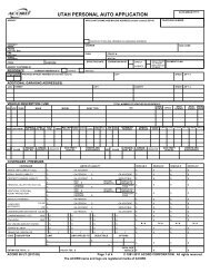 UTAH PERSONAL AUTO APPLICATION - ACORD Forms
