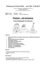 Einladung zum Freinet-Treffen vom 4. Mai