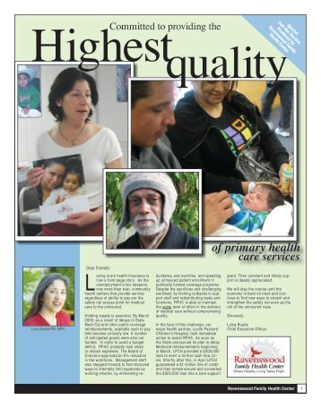 2009 Spring Newsletter - Ravenswood Family Health Center