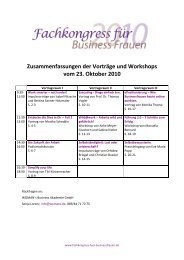 Zusammenfassungen der Vorträge und Workshops vom 23. Oktober ...