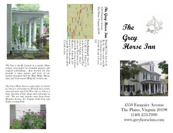 Grey Horse Inn Brochure - Fauquier County, Virginia
