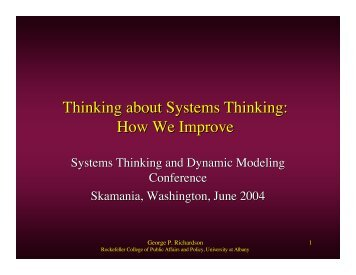 Thinking about Systems Thinking - Creative Learning Exchange
