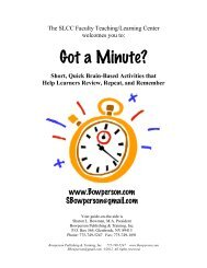 Handout: Got a Minute? - Sharon Bowman