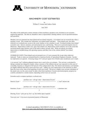 MACHINERY COST ESTIMATES - University of Minnesota