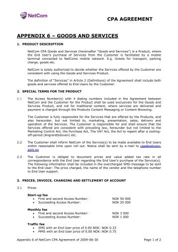 6 Appendix A Spf Agreement