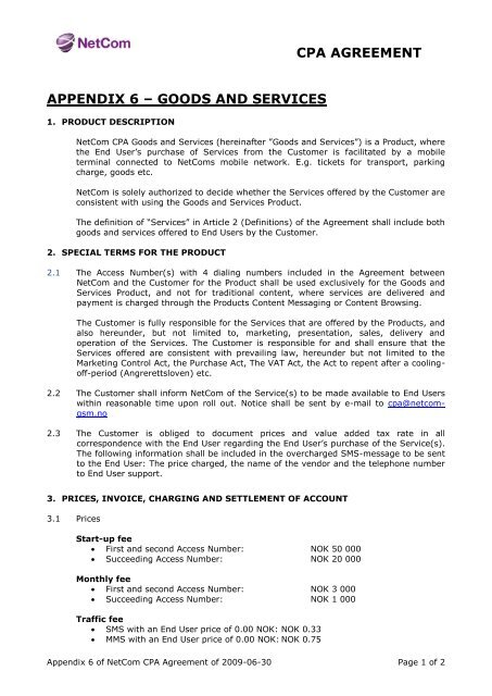 Cpa Agreement Appendix 6 Goods And Services Netcom