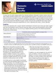 Domestic Partner Benefits - Advocate Benefits - Advocate Health Care