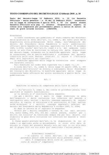 TESTO COORDINATO DEL DECRETO-LEGGE 12 febbraio 2010 , n ...