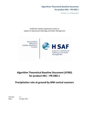 Algorithm Theoretical Baseline Document (ATBD) for ... - H-SAF