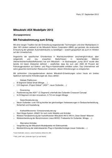 Mitsubishi ASX Modelljahr 2013 Mit Feinabstimmung zum Erfolg