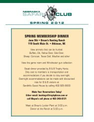 2012 Spring Newsletter - Nebraska Safari Club