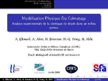 Modélisation Physique du Colmatage - Analyse ... - SFA