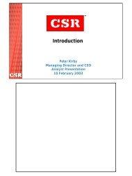 Peter Kirby demerger presentation - CSR
